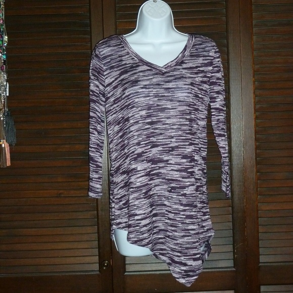 ALMOST FAMOUS Purple V-Neck Asymmetrical Sweater S